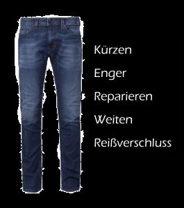 Jeans kürzen, enger, reparieren, weiten reißverschluß